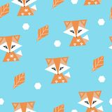 Seamless pattern with foxes and leaves. Colrful and funny. Prints for gift wrapping and fabric vector illustration