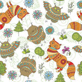 Seamless pattern with foxes, owls and trees. Vector EPS 10 illustration for design Royalty Free Stock Photography