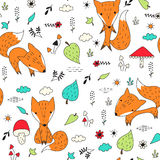 Seamless pattern with foxes and plants. Vector illustration with cute foxes and plants. Cheerful children's background with wildlife. Good for print, textile Royalty Free Stock Photography