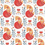 Seamless pattern with foxes. And flowers on a white background. The Scandinavian style. Vector illustration Royalty Free Stock Images