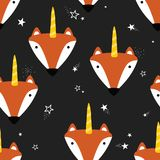 Seamless pattern with foxes royalty free illustration