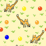 Seamless pattern with foxes. Seamless pattern with the stylized figures of foxes with elements Royalty Free Stock Photo