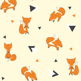 Seamless pattern with foxes and triangles. Vector illustration with cute foxes, and black and white triangle on a yellow background. Cheerful children's Stock Photography
