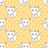 Seamless pattern of foxes. Vector seamless pattern of foxes, texture for baby products or souvenirs Royalty Free Stock Images