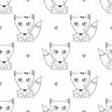 Seamless pattern of foxes. Vector seamless pattern of foxes, texture for baby products or souvenirs Stock Images