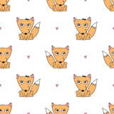Seamless pattern of foxes. Vector seamless pattern of foxes, texture for baby products or souvenirs Royalty Free Stock Photography