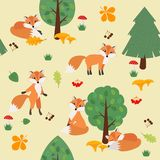 Seamless pattern with foxes in the woods. Vector illustration Royalty Free Stock Photo