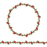 Seamless pattern and frame of the cord with cranberries and leaves. Isolated objects on white Stock Photos