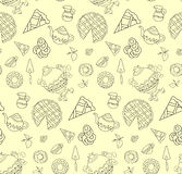 Seamless pattern of freehand breakfast set Stock Photography