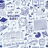 Seamless pattern freehand drawing of school supplies. In notebook Stock Image