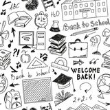 Seamless pattern freehand drawing of school supplies Stock Images