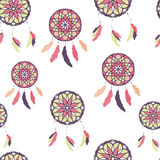 Seamless pattern with freehand dreamcatchers. Ethnic vector illustration Stock Image