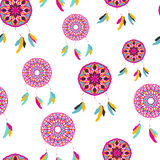 Seamless pattern with freehand dreamcatchers. Tribal vector illustration Stock Images