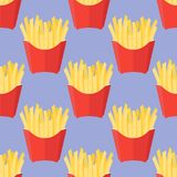 Seamless pattern with french fries. On blue background. Vector illustration Royalty Free Stock Photo