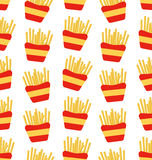 Seamless Pattern of French Fries Boxes of Takeaway. Fast Food Background Royalty Free Stock Photos