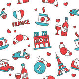 Seamless pattern of the French icons Royalty Free Stock Image