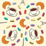 Seamless pattern with  French macaroons, croissants and black co Stock Images