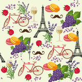 Seamless pattern in french style with food. stock illustration