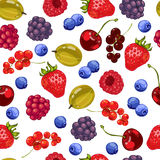 Seamless pattern of fresh berries. Vector illustration Royalty Free Stock Photos