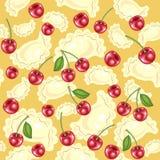 Seamless pattern. Fresh delicious dumplings, vareniki. Juicy red berries, cherries. Suitable as wallpaper in the kitchen, for vector illustration