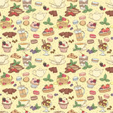 Seamless pattern fresh desserts with coffee, tea, berry, ice cre Stock Image