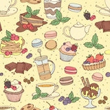 Seamless pattern fresh desserts with coffee, tea, berry, ice cre Royalty Free Stock Photos