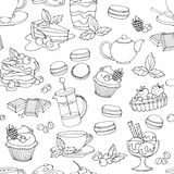 Seamless pattern fresh desserts with coffee, tea, berry, ice cre Stock Images