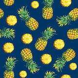 The seamless pattern of of fresh fruit pineapple with green leaves. Stock Photo