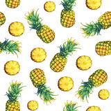 The seamless pattern of of fresh fruit pineapple with green leaves. Royalty Free Stock Image