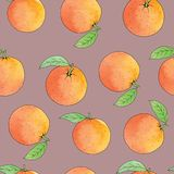 Fresh oranges stripe background, hand drawing. Colorful wallpaper vector. Seamless pattern with fresh fruits collection. Decorative illustration Royalty Free Stock Images