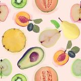Seamless   pattern with fresh fruits Royalty Free Stock Photography