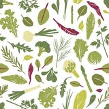 Seamless pattern with fresh green plants, vegetables, salad leaves and herbs on white background. Backdrop with healthy. Vegan products. Colored vector vector illustration