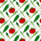 Seamless pattern with fresh hand drawn vegetables. Vector background with healthy tomatoes, cucumbers, onions Stock Image