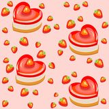 Seamless pattern. Fresh holiday cakes in the shape of heart and strawberry. Suitable as wallpaper in the kitchen, as a gift stock illustration