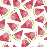 Pattern with watermelon slices. Hand drawn watercolor illustration. stock illustration