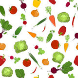 Seamless  pattern of fresh raw vegetables Stock Photo