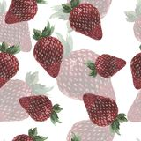 Pattern with fresh strawberries. Hand drawn watercolor illustration. royalty free illustration