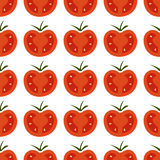 Seamless pattern with fresh red and yellow cherry tomatoes on wh Stock Images