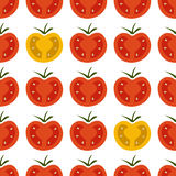 Seamless pattern with fresh red and yellow cherry tomatoes on wh Royalty Free Stock Images