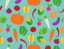 Seamless pattern of fresh vegetables on background. Vector illustration stock illustration