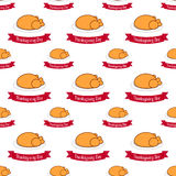 Seamless pattern with fried chicken for Thanksgiving. vector. flat Royalty Free Stock Photo