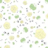 Seamless pattern of frog with a rose Royalty Free Stock Photo