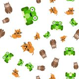 Seamless pattern of frogs cats and owls vector illustration