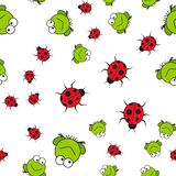 Seamless pattern of frogs and ladybugs in cartoon style vector illustration