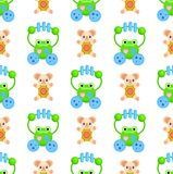 Seamless Pattern with Frogs and Plush Bears Toys Stock Photo