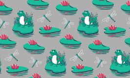 Seamless pattern with frogs, water lilies, dragonflies on grey background. Hand drawn vector illustration can be used as a print for baby apparel, cards stock illustration