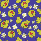 Seamless pattern with frogs and water lilies Royalty Free Stock Image