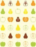 Seamless pattern of fruit. Apple and pear Royalty Free Stock Photo