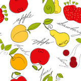 Seamless pattern with fruit. Universal template for greeting card, web page, background Stock Photo