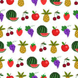 Seamless pattern of fruit, background with style p Royalty Free Stock Photo
